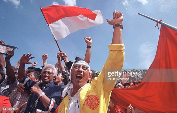 Leader of Muslim political party Muhammadiah Amien Rais takes part in protests as students take over the parliament building demanding the...