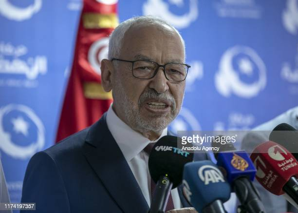 Leader of Nahda Movement Rachid alGhannouchi holds a press conference at his party's headquarters after the first announcement of early election...