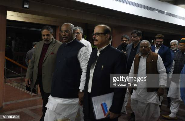 Leader of Opposition Anand Sharma Mallikarjun Kharge Tariq Anwar Mulayam Singh Yadav and other opposition party leaders after attending allparty...