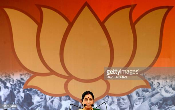 Leader of opposition and senior leader of Bharatiya Janata Party Shushma Swaraj addresses a rally in New Delhi on April 21 held as part of a...