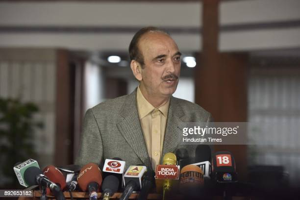 Leader of Opposition Ghulam Nabi Azad address media person after attending allparty meeting on the eve of the commencement of the winter session of...