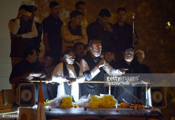 Leader of opposition in Rajya Sabha and Senior Congress leader Ghulam Nabi Azad with JDU leader Sharad Yadav DPCC President Ajay Maken address the...