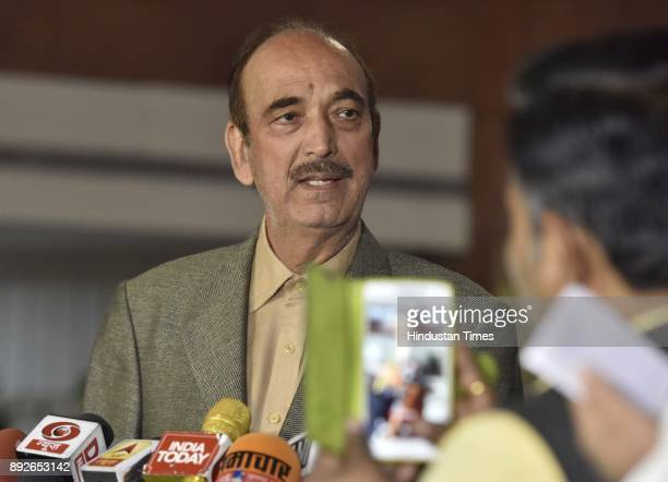 Leader of Opposition in Rajya Sabha Ghulam Nabi Azad address media person after attending allparty meeting on the eve of the commencement of the...