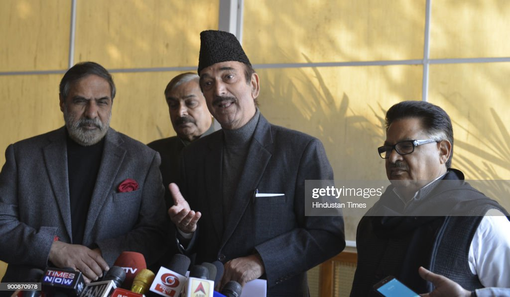 Leader of opposition in Rajya Sabha Ghulam Nabi Azad with Deputy Leader of Opposition in Rajya Sabha Anand Sharma and Chairperson of the National Commission for Scheduled Castes PL Punia, leave after attending Parliament Winter Session on January 3, 2018 in New Delhi, India.