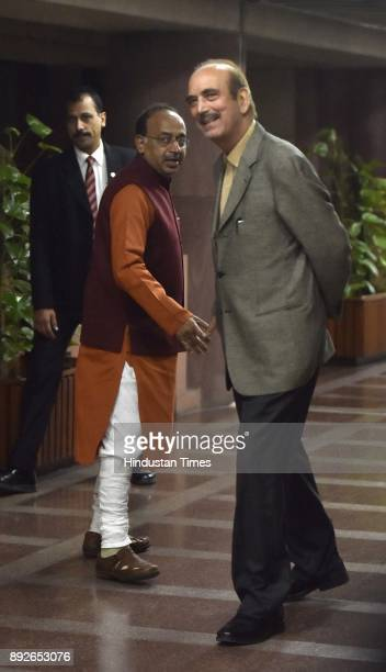 Leader of Opposition in Rajya Sabha Ghulam Nabi Azad with union MInister Vijay Goel after attending allparty meeting on the eve of the commencement...