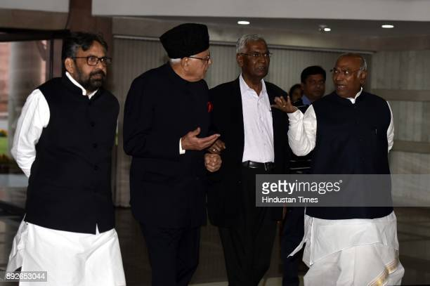 Leader of Opposition Lok Sabha Mallikarjun Kharge NC leader Farooq Abdullah CPI Leader D Raja and other opposition party leaders arrive for an...