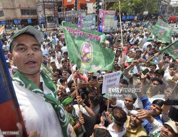 Leader of Opposition RJD Tejashwi Prasad Yadav takes out a rally at Dak Bungalow crossing in Patna during Bharat Bandh call by Dalit organizations...