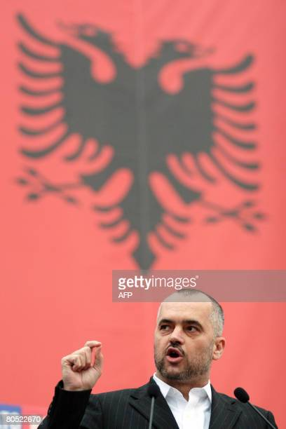 Leader of opposition Socialist party of Albania Edi Rama addresses supporters during a demonstration with the slogan 'Yes to NATO No to Berisha'...