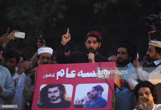 Leader of Pakistan's Pashtun Protection Movement Manzoor Pastheen speaks during a demonstration in Lahore on April 22 2018 Thousands of protesters...