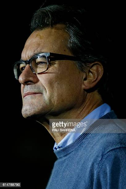 Leader of Partit Democrata Europeu Catala PDECAT and former President of the Catalan regional Government Artur Mas attends the ceremony commemorating...