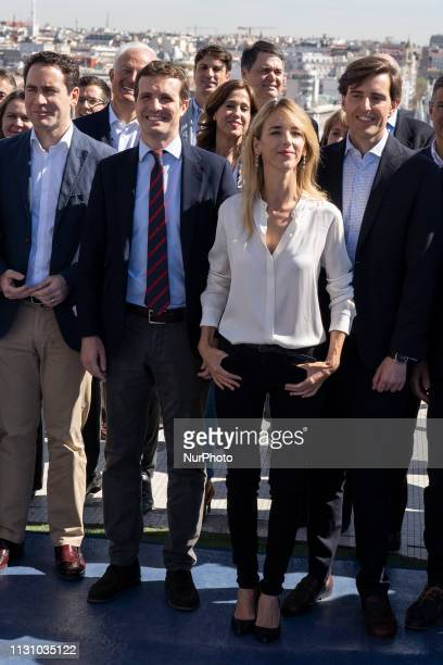 Leader of People's Party Pablo Casado and Cayetana Alvarez de Toledo during presents the heads of the PP list to the Congress of Deputies at a rally...