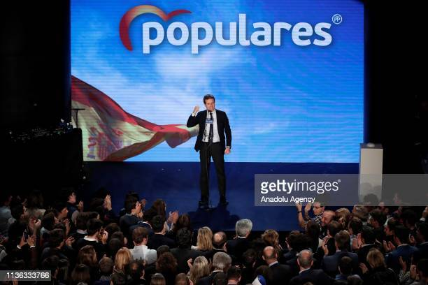 Leader of People's Party Pablo Casado delivers a speech during his party's election campaign ahead of 2019 Spanish general election will be held on...
