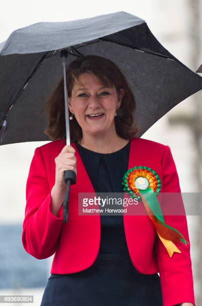 Leader of Plaid Cymru Leanne Wood arrives to vote at the Soar Centre in Penygraig on June 8 2017 in Rhondda Wales Polling stations have opened as the...