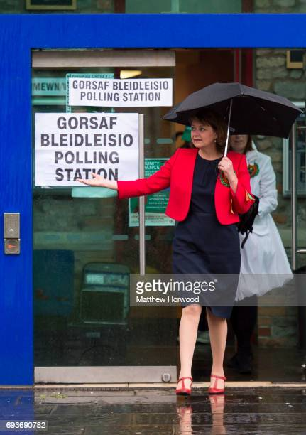 Leader of Plaid Cymru Leanne Wood leaves after voting at the Soar Centre in Penygraig on June 8 2017 in Rhondda Wales Polling stations have opened as...
