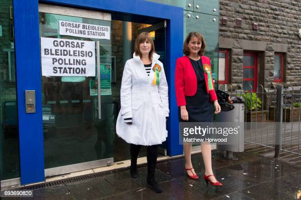 Leader of Plaid Cymru Leanne Wood poses for a picture after arriving to vote with Rhondda candidate Branwen Cennard at the Soar Centre in Penygraig...