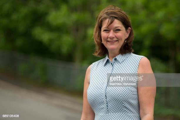 Leader of Plaid Cymru Leanne Wood poses for a picture while doortodoor campaigning in Rhondda Cynon Taf on behalf of candidate Branwen Cennard on May...