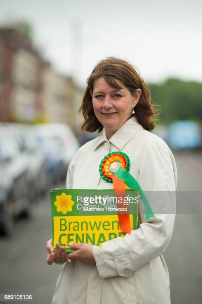 Leader of Plaid Cymru Leanne Wood poses for a picture while campaigning in Rhondda Cynon Taf on behalf of candidate Branwen Cennard on May 27 2017 in...
