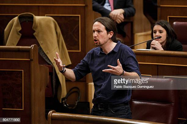 Leader of Podemos party Pablo Iglesias speaks as he takes his seat as deputy during the inaugural meeting of the eleventh legislature of the Congress...
