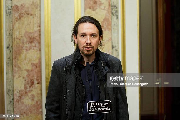 Leader of Podemos party Pablo Iglesias speaks for the press after the inaugural meeting of the eleventh legislature of the Congress of Deputies at...