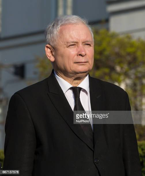 Leader of Polish now ruling conservative 'Law and Justice' party Jaroslaw Kaczynski during ceremonies commemorating the 7th anniversary of the...