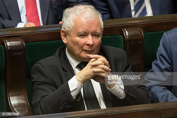 Leader of Polish now ruling conservative 'Law and Justice' party Jaroslaw Kaczynski during the session of Parliament of Poland in Warsaw Poland on 6...