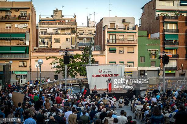Leader of political party 'Barcelona en Comu' Ada Colau speaks during a Municipal Elections rally on May 22 2015 in Barcelona Spain Spain will hold...
