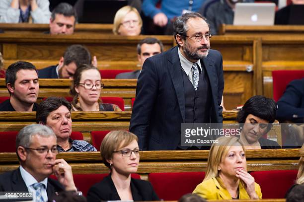 Leader of Popular Unity Candidacy 'Candidatura d'Unio Popular' Antonio Banos votes against Artur Mas being invested new President of Catalonia during...