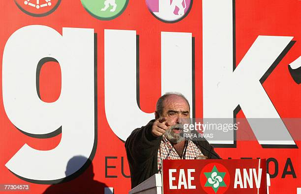 Leader of pro independence Basque party Basque Nationalist ActionANV Kepa Bereziartua addresses supporters after marching through the northern...