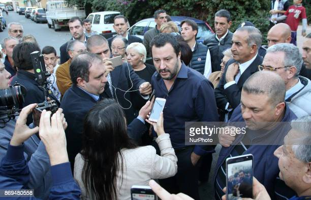 Leader of quotLega Nordquot Matteo Salvini visits Messina Italy on November 2 2017 during the Electoral Campaign in Sicily