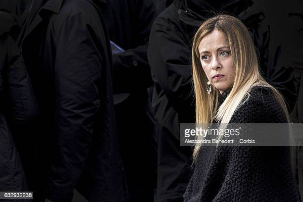 Leader of right wing party Fratelli d'Italia Giorgia Meloni attends Italian right wing parties Fratelli d'Italia Lega Nord and Forza Italia...