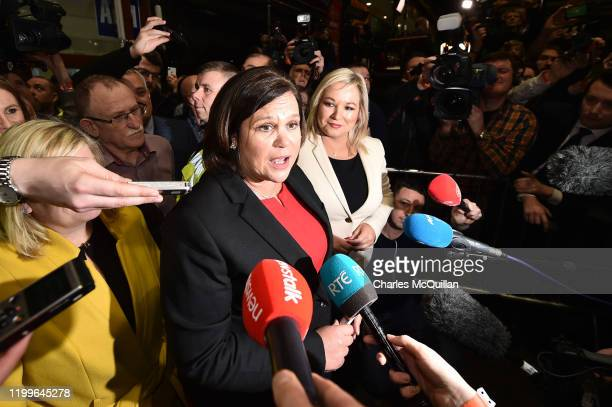 Leader of Sinn Fein Mary Lou McDonald arrives at the at RDS count centre following Sinn Feins historic surge in the polls on February 9, 2020 in...