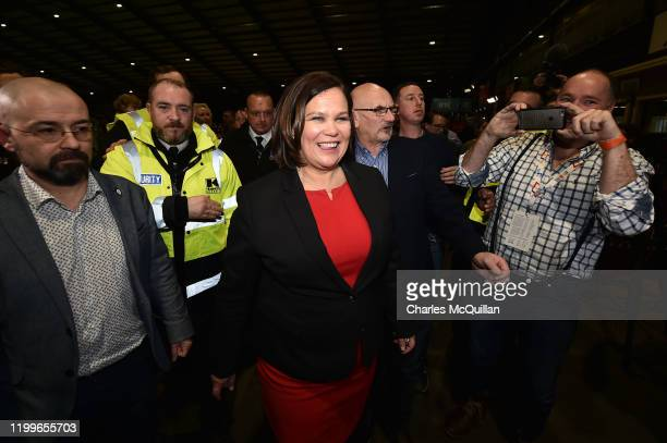 Leader of Sinn Fein Mary Lou McDonald smiles at the at RDS count centre following Sinn Feins historic surge in the polls on February 9, 2020 in...