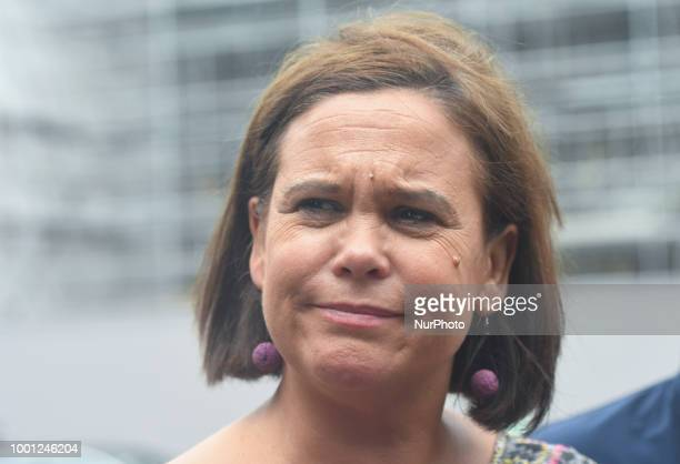 Leader of Sinn Fein party Mary Lou McDonald calls on MP Ian Paisley Jr to resign during a press conference outside Leinster House in Dublin The DUP...