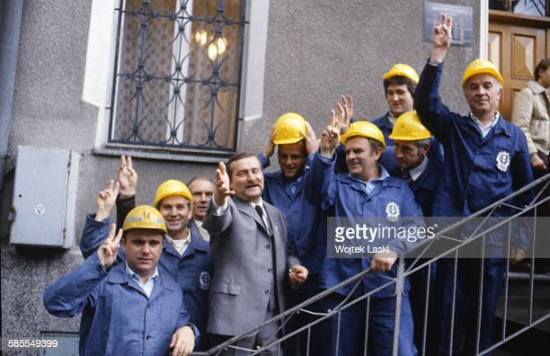 """Leader of """"Solidarity"""" trade union Lech Walesa and his fellow shipyard workers in Gdansk, Poland, in October 1983."""