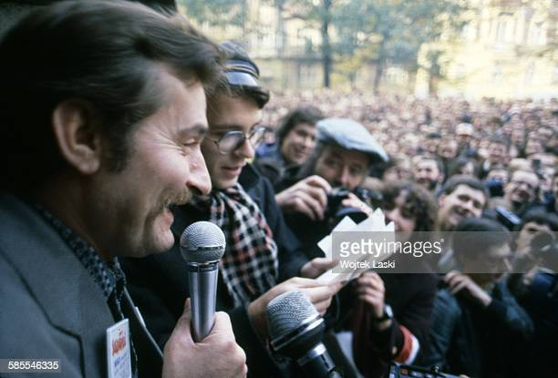 Leader of 'Solidarity' trade union Lech Walesa during a meeting with Warsaw University students in Warsaw Poland on 1st December 1989