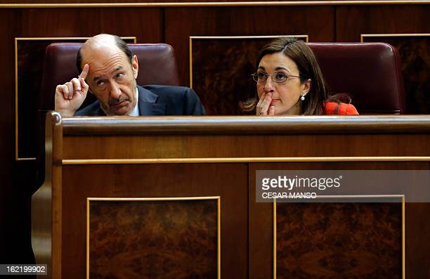 Leader of Spain's Socialist Party Alfredo Perez Rubalcaba PSOE spokesman Soraya Rodriguez attend the state of the nation debate on February 20 2013...