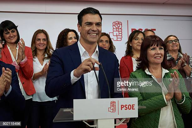 Leader of Spain's Socialist Party and candidate for general elections Pedro Sanchez gives a speech after the first results of the general election...
