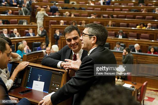 Leader of Spanish Socialist Party party Pedro Sanchez chats with the new elected President of the Congress socialist Patxi Lopez during the inaugural...