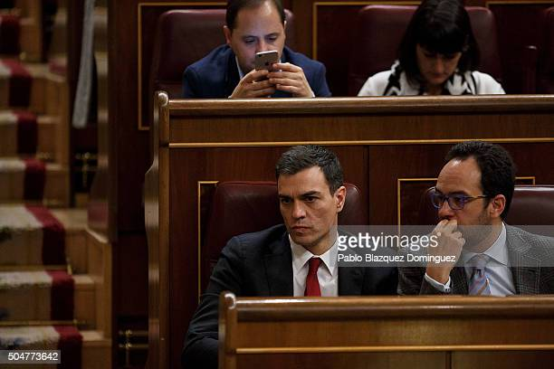 Leader of Spanish Socialist Party party Pedro Sanchez looks on during the inaugural meeting of the eleventh legislature of the Congress of Deputies...