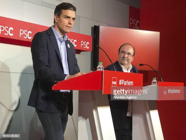 Leader of Spanish Socialist Party Pedro Sanchez and First Secretary of Catalan Socialist Party Miquel Iceta hold a press conference on Catalonia's...