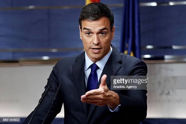Leader of Spanish Socialist Party Pedro Sanchez gives a press conference at the Spanish parliament in Madrid on August 2 2016 after a meeting with...