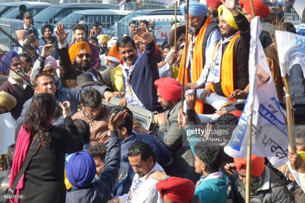 Leader of the Aam Aadmi Party and Chief Minister of Delhi Arvind Kejriwal AAP candidate for Amritsar Lok Sabha bypoll Upkar Singh Sandhu along with...