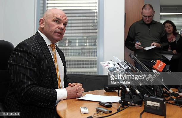 Leader of the ACT NZ Party Rodney Hide speaks to the media during a press conference at the ACT Party Headquarters on September 17 2010 in Wellington...