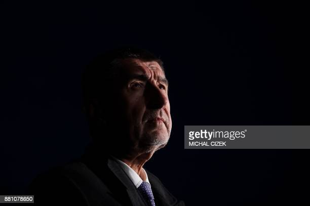 Leader of the ANO movement Andrej Babis answers journalists' questions after his meeting with Czech President Milos Zeman on November 28 2017 at...