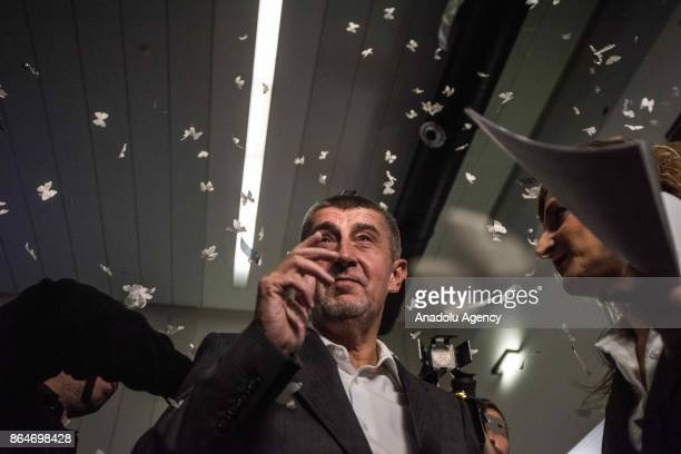 Leader of the ANO movement Andrej Babis arrives at ANO headquarters after the polling stations of Czech elections closed in Prague Czech Republic on...