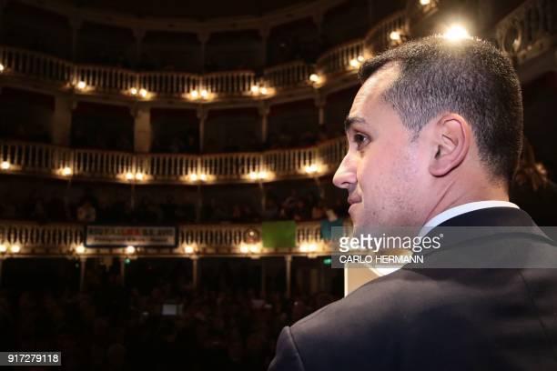 Leader of the anti-establishment Five Star Movement , Luigi Di Maio attends a rally at the Sannazzaro Theatre in Naples, on February 12, 2018 ahead...