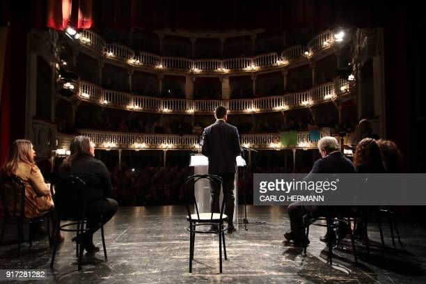 Leader of the anti-establishment Five Star Movement , Luigi Di Maio delivers a speech during a rally at the Sannazzaro Theatre in Naples, on February...