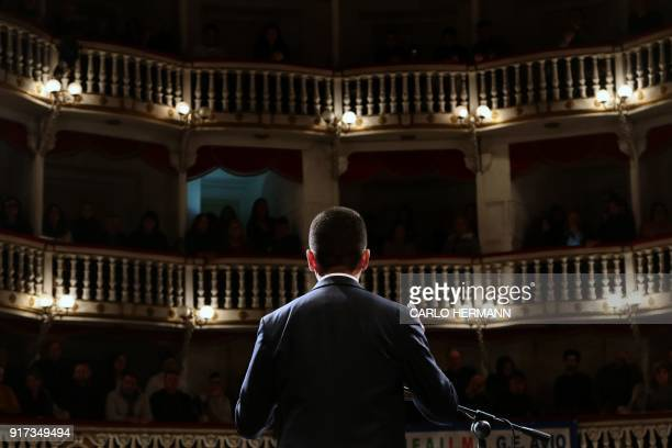 Leader of the antiestablishment Five Star Movement Luigi Di Maio speaks during a rally at the Sannazzaro Theatre in Naples on February 12 2018 ahead...