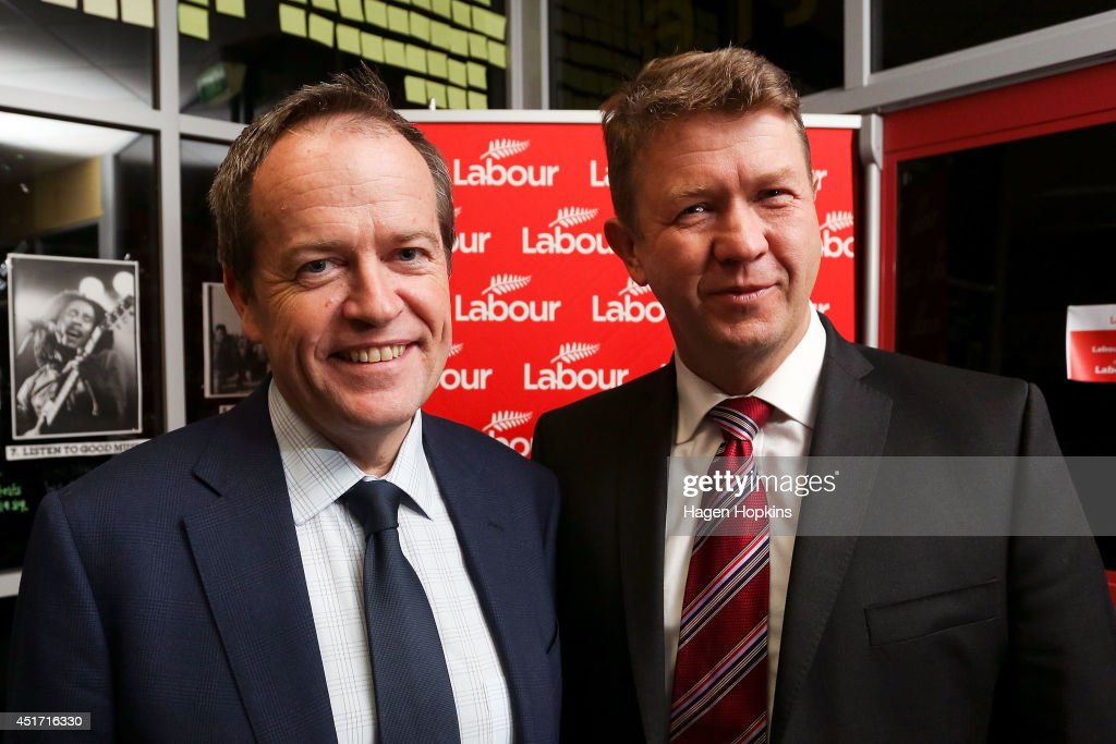 Leader of the Australian Labor Party, Bill Shorten, and leader of the New Zealand Labour Party, David Cunliffe, pose at Wellington High School on July 5, 2014 in Wellington, New Zealand. David Cunliffe and Bill Shorten are currently attending Labour's election year Congress which runs from July 4 to 6 and focuses on preparing and planning the party's nationwide election campaign. New Zealand's general election will be held on 20 September.