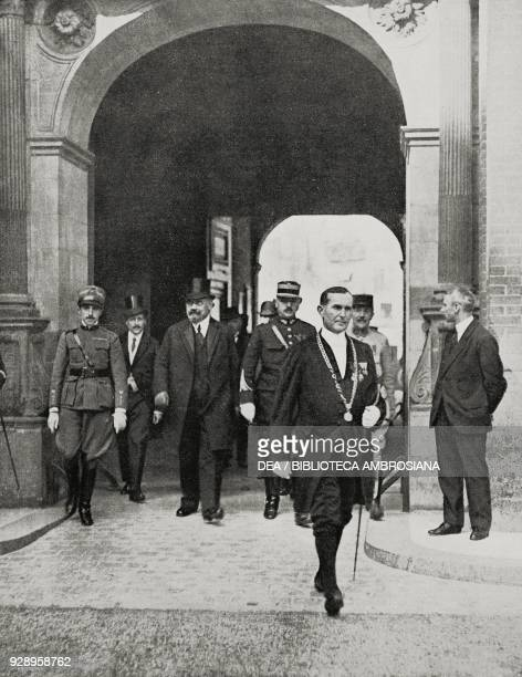 Leader of the Austrian delegation Karl Renner exits from the Castle of St. Germain after the signature of the Treaty of Saint-Germain-en-Laye that...